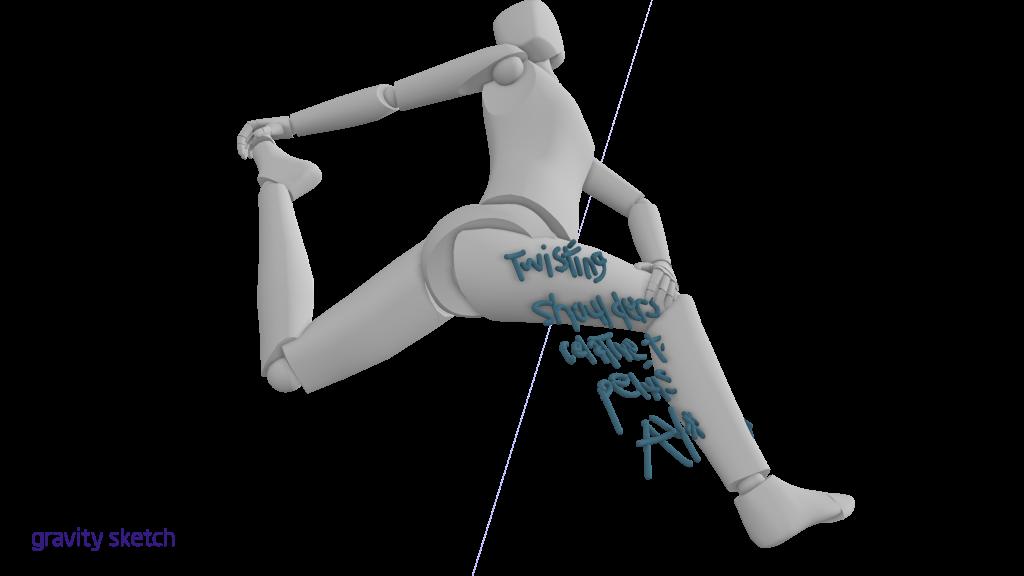 Twisting shoulders relative to pelvis